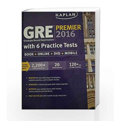 GRE Premier 2016 Graduate Record Examination with 6 Practice Tests (Book + Online + DVD + Mobile PB) by kaplan Book