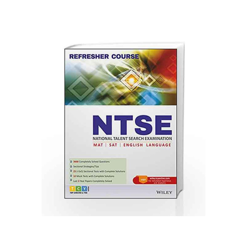 NTSE (National Talent Search Examination) Refresher Course: MAT, SAT, English Language by TCY ONLINE Book-9788126563968